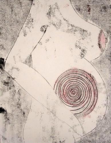 Lucy Wilson, Pregnant Woman, Monoprint, 2015